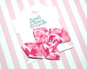 Set of 2 Pink Camo Mini Bow Clips