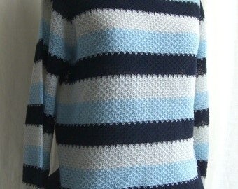 """Sweater  Vintage 70s navy, blue and white stripes - Retro- Jersey - Knit Sweater - Woman sweater  - """"Vintage dresses  & very unique"""""""
