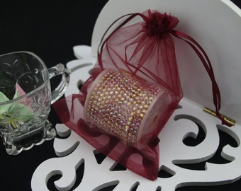 50 4 x 6 Dark Red Organza Jewelry Gift Pouch Bags Great For Wedding favors, sachets, beads, jewelry, and more