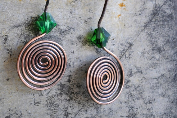 Copper wire coil earrings with emerald green glass handmade