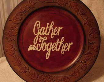 Decorative fall charger with saying