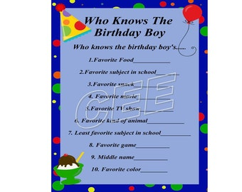 Birthday Party Game, Party Game For Boy, Printable Birthday Game, Instant Downloadable Birthday Game,Party Idea,Party Game,Birthday Game