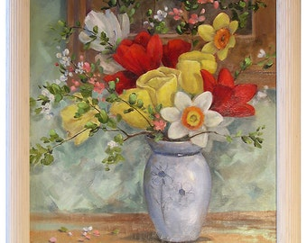 Tulips and Jonquils by a Window - Oil Painting