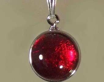 "Colorful Dichroic Glass Pendant  on an 18"" sterling silver-filled chain"