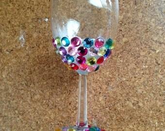 Multicolored rhinestone wine glass
