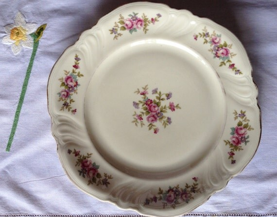 vikotiria rosenthal vintage floral elfenbein pink roses. Black Bedroom Furniture Sets. Home Design Ideas