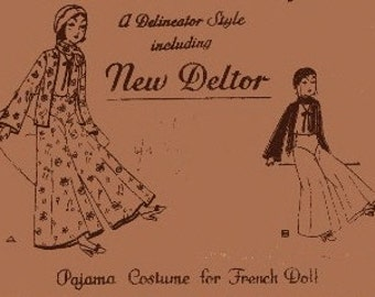 New Deltor Pajama Costume Pattern 438 - Photocopy