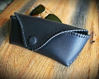 Black leather case for glasses handmade