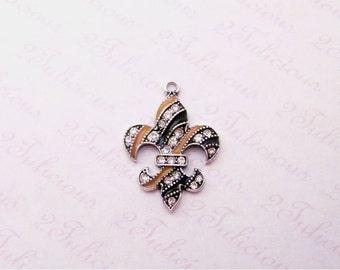 Antique Silver Fleur de Lis Black and Gold Crystal Pendant Flower Floral Charm