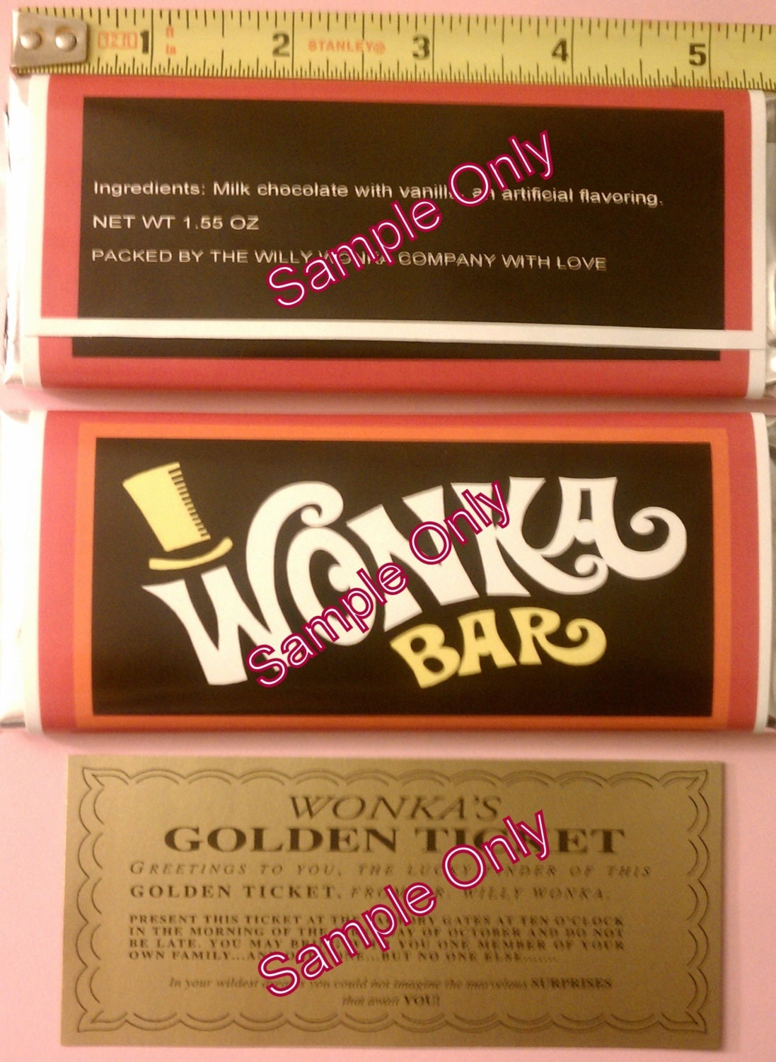 1.55 oz. Willy Wonka chocolate bar wrapper & golden