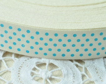 Cotton Ribbon 20mm(3/4'') x 5 Yards Sewing Trim Cotton Sewing Tape Cotton Ribbon Label - Blue Dot Pattern Y083