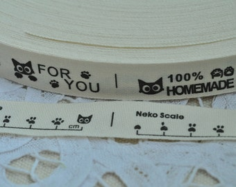Sewing Tape 15mm(5/8'') x 5 Yards Cotton Ribbon Label Print Cotton Tag - Letter For You Handmade Cat Scale 100 Y020