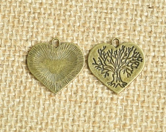 15pcs Antique Bronze Tree Love Heart Charms 24x23mm MM421