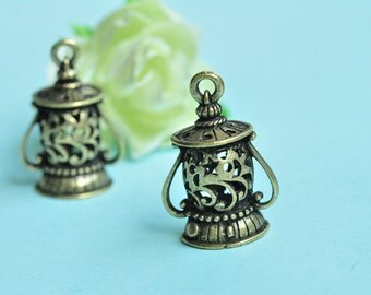 2pcs Antique Bronze 3D Cylinder Lantern Charms 20x28mm K216