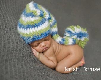 Newborn Baby Boy Fuzzy Elf Pom Hat Crochet Photo Prop