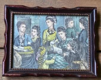 Vintage Victorian Women Set of 2 of Framed Prints Wooden Frame PanchosPorch
