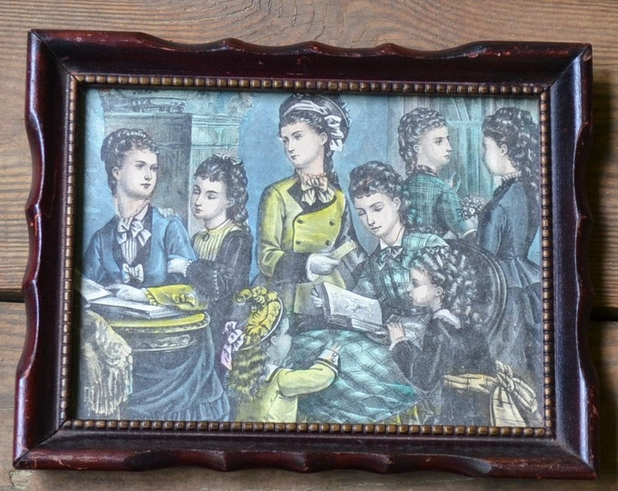 Vintage Victorian Women Set of 2 of Framed Prints Wooden Frame PanchosPorch