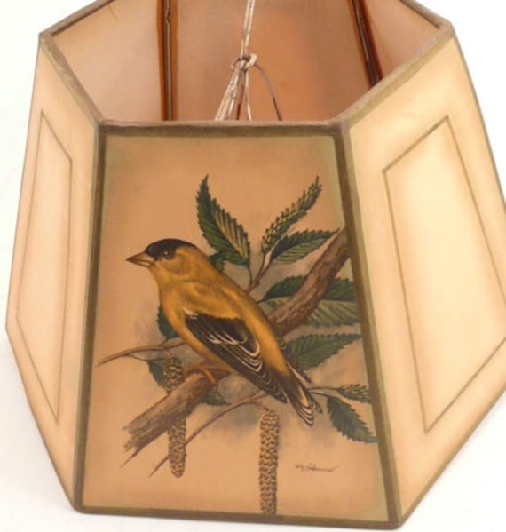 Vintage 6 Sided Lamp Shade With Bird Prints By Ph