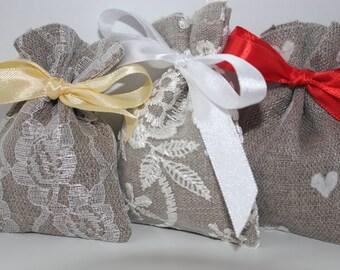 Wedding Favor Bags. Linen Favor Bags Bags Set of 5