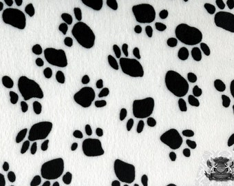 Paw Print Black and White Velboa Fabric Sold by the Yard
