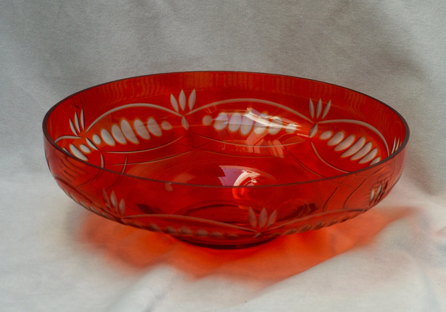 Vintage festive vermillion russian red glass centerpiece bowl