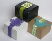 50 Favor Box choice of white box, kraft box or black box  used as party favor boxes, Shower favor box, candy box or small gift box