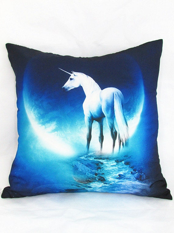 Unicorn pillow cover 18x18 throw pillow case by Pillowow on Etsy