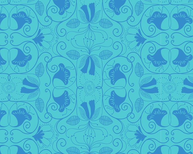 One Yard Islandia Blue Cotton Quilt Fabric - Molokai by Jessica Swift for Blend Fabrics (W6)