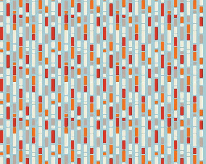 """SUPER CLEARANCE! 25"""" REMNANT One For The Boys - Stripe in Orange and Blue Cotton Quilt Fabric - by Zoe Pearn for Riley Blake (W70)"""