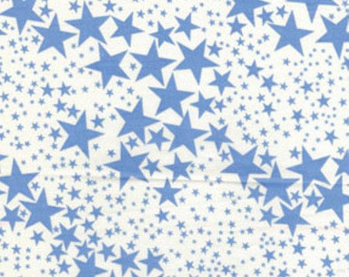 SUPER CLEARANCE! One Yard Cabana - Star is Born Cream/Blue Cotton Quilt Fabric - by Kanvas - Benartex (W87)
