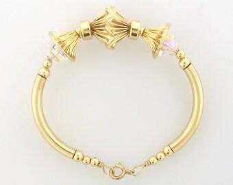 Gold filled beaded bracelets with bicone swarovski crystal