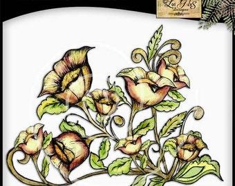 Colored Pencil Flowers No.1 - Digital Prints Scrapbooking Stamps