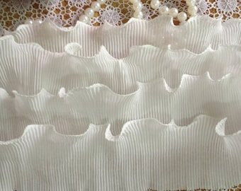 1 Yard White Elastic Lace Vintage Trim White Pleated Accordion Lace Trim