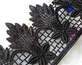 Black Venice Cotton Lace Trim for DIY handmade Women Clothing wedding Dress Accessories