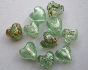 12mm foil glass heart beads pale mint green mix x 10 FBH003