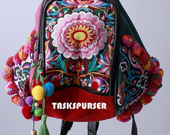 Backpack /Book Bag/ Handmade Hmong /Vintage Fabric /Ethnic Backpack/Embroidery Backpack/Double-sided embroidery Backpack