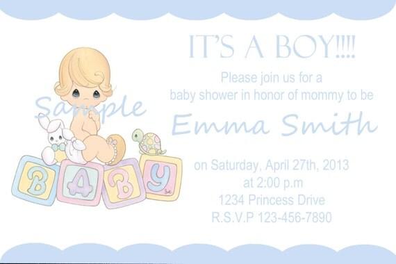 printable precious moments boy baby shower invitation