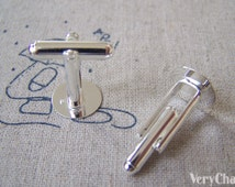 Silver Cufflinks with 12mm Glue Pad  Flat Back Cuff Links Set of 10 pcs A4271