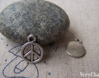 30 pcs of Tibetan Silver Peace Symbol Charms 11.5mm A1969