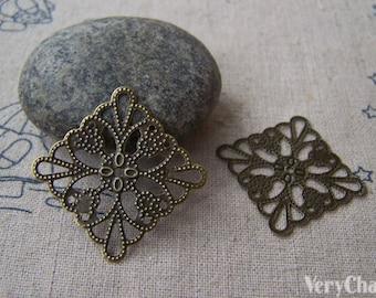 Metal Embellishments Filigree Bronze Stampings  25mm Set of 50 pcs A5085
