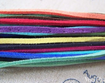 10 meters Square Suede Faux Leather Ribbon Lace Cords String Mixed Color A4341