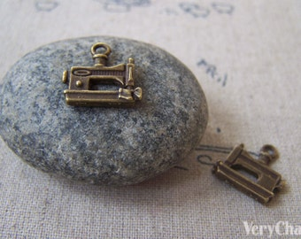20 pcs Antique Bronze Sewing Machine Charms 15x15mm A4387