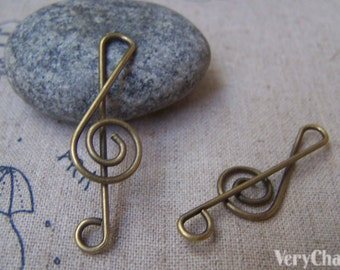 Antique Bronze Wired Music Note Treble Clef Charms  12x40mm Set of 10 pcs A1702