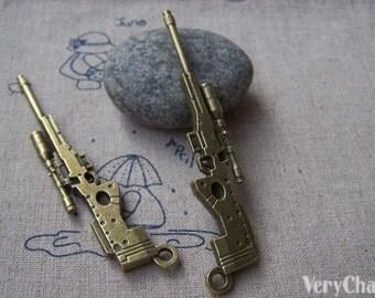 4 pcs Antique Bronze Sniper Rifle Gun Pendants Charms  18x76mm A4072