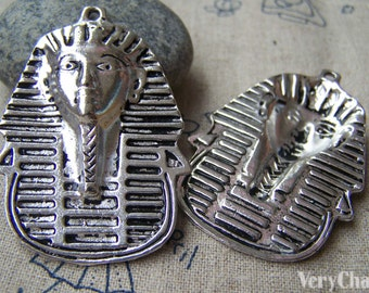 4 pcs of Antique Silver Egyptian Pharaoh Pendants 35x45mm A1623