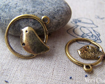 20 pcs of Antique Gold Bird Ring Connector Charms 21mm A824