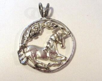Vintage Sterling silver Horse pendant