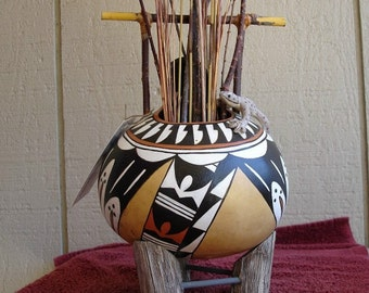 Gourd -  Native American Acoma Style gourd pottery