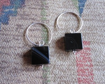 Unique Black Onyx with Sterling Earrings