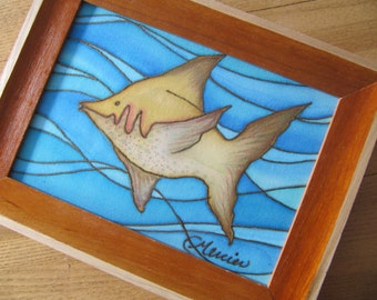 Fish, original painting on silk, framed, 5'' x 7''